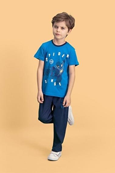 Spider-Man Spider Man Lisanslı Mavi Erkek Çocuk Pijama Takımı Mavi